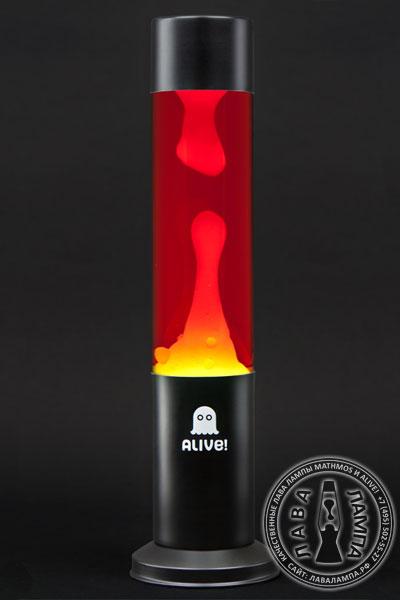 Лава лампа «Труба» (черная) Красный/Желтый