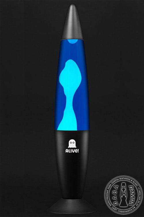 Лава лампа Гигант (черная) Синий/Белый