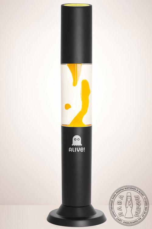 Лава лампа Колосс (черная) Прозрачный/Желтый