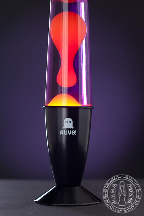 Лава лампа «Гигант» (черная) Фиолетовый/Желтый
