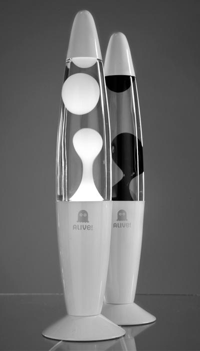 Лава лампа Слим (белая) Прозрачный/Черный