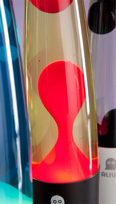 Лава лампа Слим (белая) Желтый/Красный