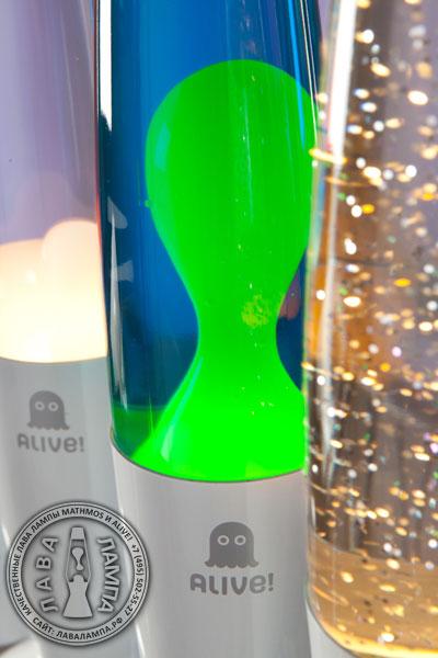 Лава лампа Слим (белая) Синий/Зеленый