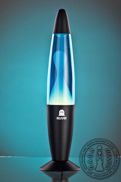 Лава лампа Слим (черная) Синий/Белый