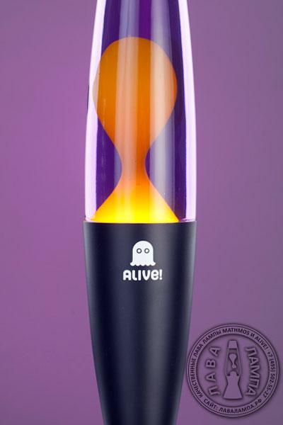 Лава лампа Слим (черная) Фиолетовый/Желтый