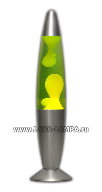 Лава лампа Слим (серебро) Зеленый/Желтый