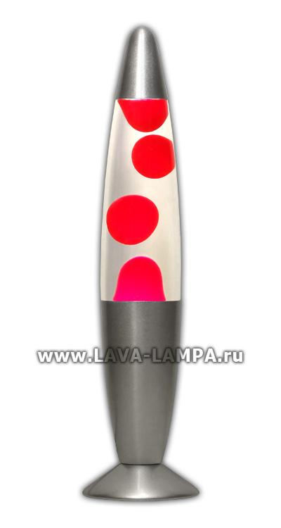 Лава лампа Слим (серебро) Прозрачный/Красный